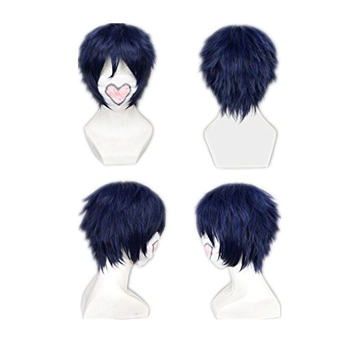 COSPLAZA Cosplay Wig Short Dark Blue Heat Resistant Anime Full Hair With Cap (Blue) -