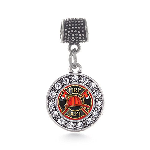 Inspired Silver Fire Department Badge Circle Memory Charm Fits Pandora Bracelets & Compatible with Most Major Brands such as Chamilia, Murano, Troll, Biagi and other European Bracelets