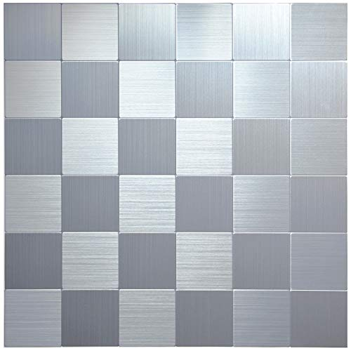 Crystiles Peel and Stick Mosaics Brushed Stainless Aluminum Wall Tile Backsplash Stick On Metal Tiles, 12