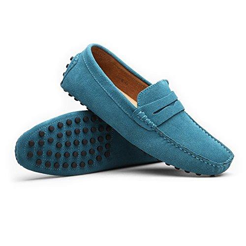 Zapatos Negocios Boat de hasta Slip On de Hombres Negocios MUS tamaño Slip Mocasines Penny de Azul Mocasines los Genuino Planos Suede Cuero Casuales Conducción Mocasines Shoes el on Isbxn 12 Zapatos HOnUqxg44