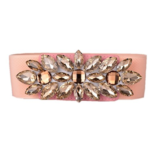 Dorchid Women Wide Elastic Crystal Belts Rhinestone Diamond Floral Stretch Plus Size Waistband Ladies