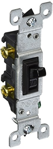 Black Standard Switch - Leviton 1451-2E Framed Grounded Toggle Switch, 120 V, 15 A, 1 P, 1 Count, Black