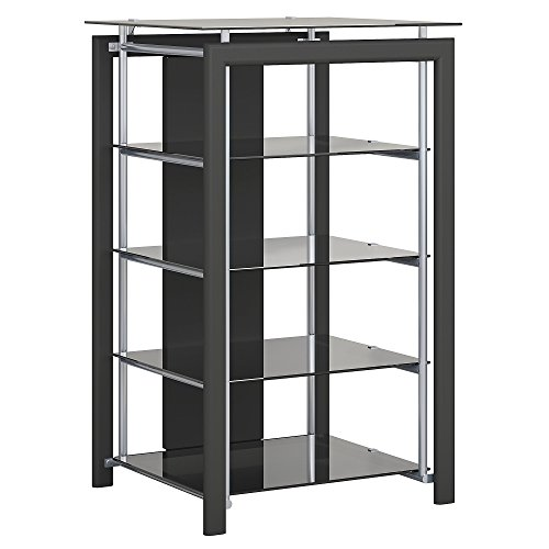 Glass Front Media Cabinet - Bush Furniture Midnight Mist Media Stand in Black