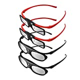 BOBLOV 3D Glasses 4 Pieces Family Pack Active Shutter Glasses DLP-Link Compatible with All DLP Porjectors for Parents and Kids