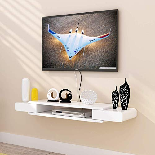 Home Floating Frame White TV Cabinet Set-top Box Shelf/Living Room TV Wall Wall Hanging Frame Bedroom Wall Decoration Storage ()