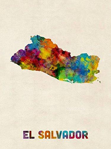 - Imagekind Wall Art Print Entitled El Salvador Watercolor Map by Michael Tompsett | 8 x 10