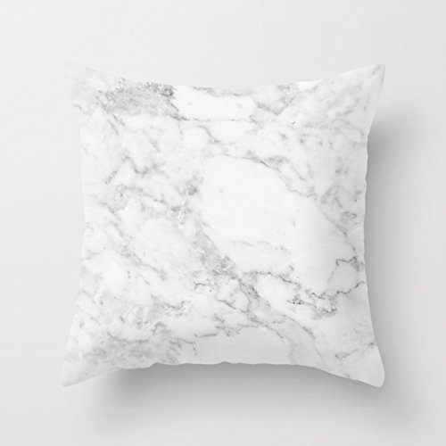 Engthing Marble White And Grey Cotton Canvas Sofa Pillow Case