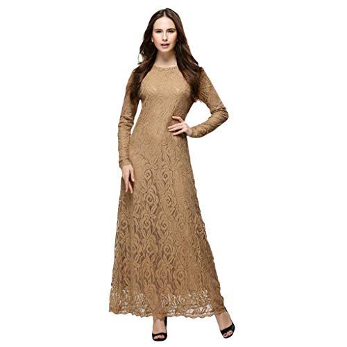 Women Solid Formal Lace Maxi Dress Long Sleeve Off Shoulder Elegant Party Gown Mermaid Dress MITIY, M-XXL Coffee -