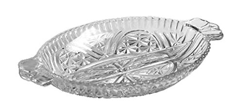 Anchor Hocking Stars & Bars Clear Glass ( 2-Part Relish Dish (Part Divided Relish Dish)