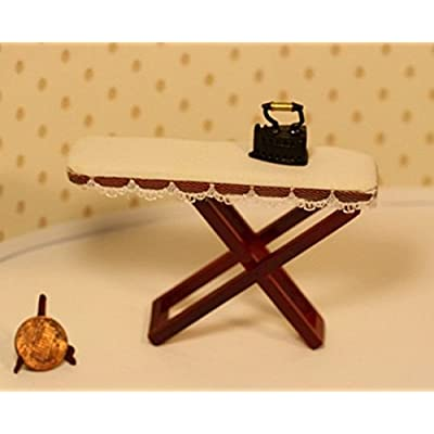 Dollhouse Miniature Ironing Board with Lace Trim and Vintage Look Iron: Toys & Games