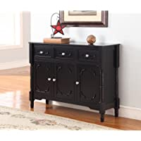 Kings Brand R1121 Wood Console Sideboard Table with Drawers and Storage, Black Finish