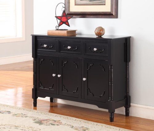 King's Brand R1121 Wood Console Sideboard Table with Drawers and Storage, Black Finish ()