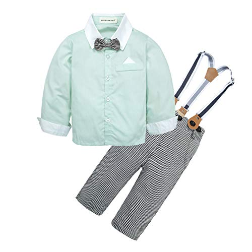 BIG ELEPHANT Baby Boys' 2 Pieces Gentleman Clothes Sets Bow Tie Shirts + Suspender Pants Best Birthday Gifts Boys 2 Piece Romper