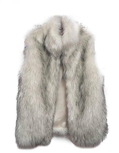 V-Neck Womens Fur Coat - 8