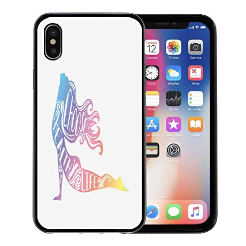 Semtomn Phone Case for Apple iPhone Xs case,Choose Healthy Life Sport Fitness Typographic Girl and Quote Motivational Inspirational Lettering Yoga for iPhone X Case,Rubber Border Protective Case,Black