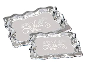 Lorren Home Trends 1686-2 Stainless Steel Trays with Handles, Set of 2