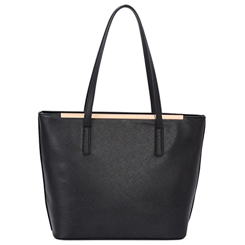 David Jones - Women's Top Handle Shoulder Handbags Tote Purse - Saffiano Imitation Faux Leather Long Handle Bag - Classic Style For Lady Girl School Work - Black Black