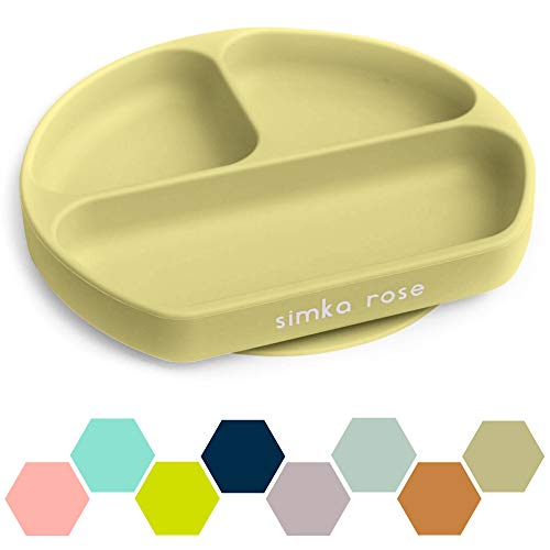 Simka Rose Suction Plate for Baby and Toddler - Divided Silicone Plate - BPA Free - Dishwasher and Microwave Safe - Premium Baby Shower Gift (Olive)