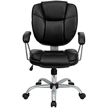 Flash Furniture Mid Back Black Leather Swivel Task Chair with ArmsAmazon com  Flash Furniture Mid Back Black Leather and Mesh Swivel  . Flash Furniture Mid Back Office Chair Black Leather. Home Design Ideas