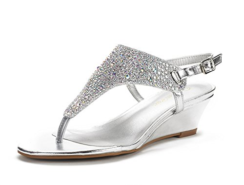 DREAM PAIRS Women's Aditi Silver Low Wedge Dress Sandals - 9.5 M US