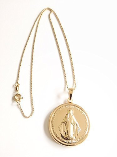 Amazon miraculous medal necklace gold tone virgin mary big miraculous medal necklace gold tone virgin mary big pendant 18k gold plated ball chain aloadofball Choice Image