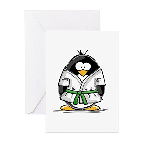 CafePress Martial Arts Green Belt Pengu Greeting Card, Note Card, Birthday Card, Blank Inside Matte