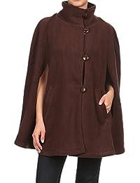 LL Womens Cape Poncho Coat Fall Winter Soft Fleece Open Front Button