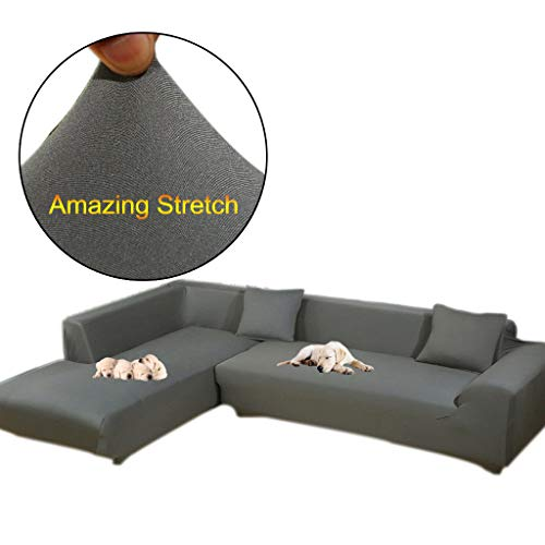 Taiyucover Anti-skid Dustproof Sofa Slipcovers ;Armchair/2-Seater/3-Seater sofa covers; Sectional Corner L-Shaped Sofa Protector (Grey, L-Shape(Large 3-Seater sofa + Large 3-Seater sofa)) (3 Seater 2 Seater)