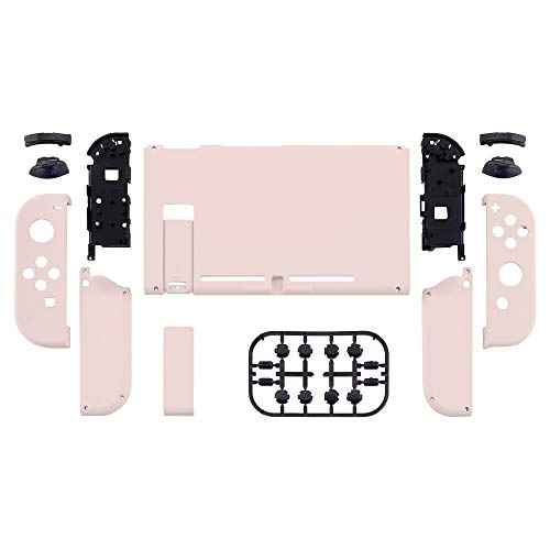 eXtremeRate Soft Touch Grip Back Plate for Nintendo Switch Console, NS Joycon Handheld Controller Housing with Full Set Buttons, DIY Replacement Shell for Nintendo Switch - Sakura Pink