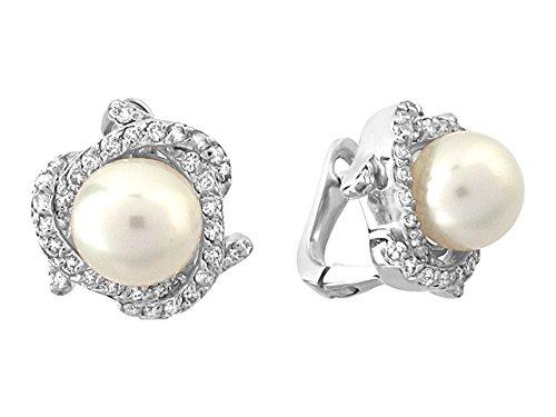 Birgie Diamants et Bijoux - Boucles d'Oreilles Perles et Diamants-Femme- or Blanc 201E0042