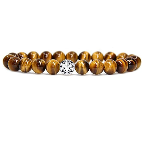 Natural 8mm Gorgeous Men Women Semi-Precious Gemstones Healing Crystal Stretch Beaded Bracelet Unisex Bangle with 925 Sterling Silver Double Happiness Pendant (Tiger Eye)