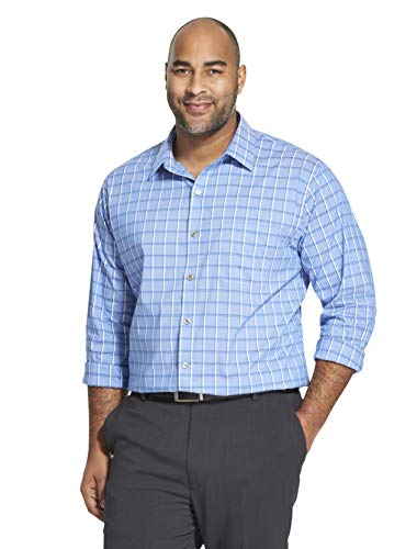 Van Heusen Men's Big and Tall Traveler Stretch Long Sleeve Button Down Blue/White/Purple Shirt, Crisp Blue, 2X-Large ()