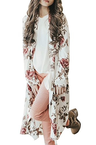 Girls Floral Kimono Cardigan Long Sleeve Loose Chiffon Cover up Blouse White Size 7-8 T