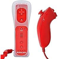 mini kitty 2 en 1 Mando Plus con Motion Plus y Nunchunk para Nintendo Wii + Funda de Silicona - Rojo