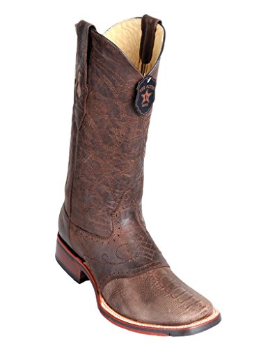 Men's Wide Square Toe with Saddle Brown Greasy Finish Genuine Leather Ostrich Leg Skin Western Boots