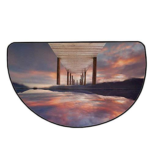Landscape Comfortable Semicircle Mat,A Flooded Jetty in Derwent Water Lake District England Sunset Morning Photo for Living Room,25.9