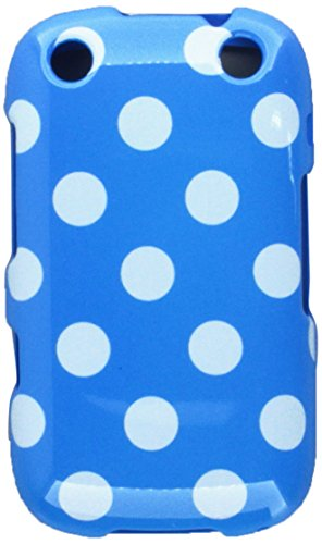 Aimo BB9310PCPD302 Trendy Polka Dot Hard Snap-On Protective Case for BlackBerry Curve 9310 - Retail Packaging - Light Blue/White ()