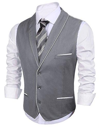Coofandy Mens V-neck Sleeveless Vest - Slim Fit Suit Dress Vest For Wedding, Graduation,Large,Grey