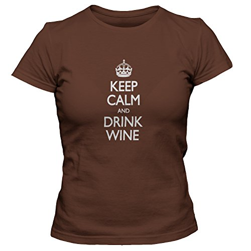 ShirtLoco Women's Keep Calm And Drink Wine T-Shirt, Chocolate 3XL