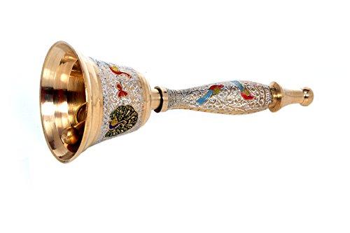 Hashcart Colorful Hindu Hand Held Bell - Musical Jingle Brass Puja Pooja Prayer Ghanti - Indian Hindu Festivals & Christmas