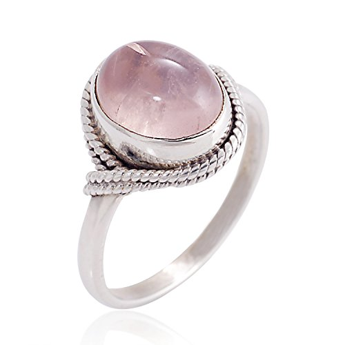 (Chuvora 925 Sterling Silver Pink Rose Quartz Gemstone Oval Rope Edge Vintage Band Ring Size 10 )