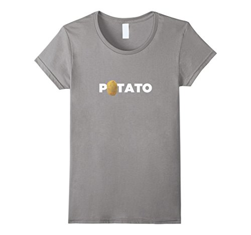 Womens Real Potato Funny Vegetable Food Funny Side Dish T-Shirt Large Slate