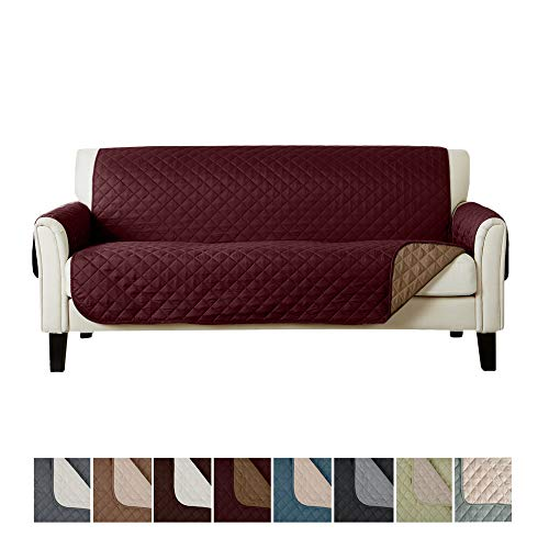 Home Fashion Designs Deluxe Reversible Quilted Furniture Protector. Perfect for Families with Pets and Kids. (Sofa/Couch - Burgundy/Taupe)