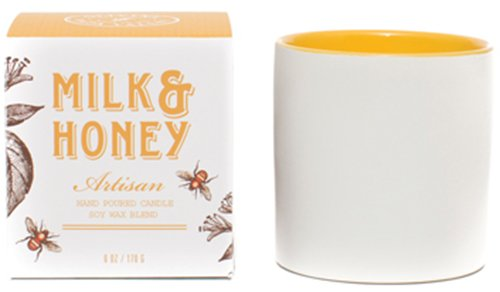 Olivina Ceramic Candle, Milk and Honey, 6 Ounce