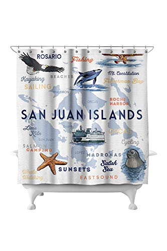 Lantern Press San Juan Islands, Washington - Typography and Icons 81728 (74x74 Polyester Shower Curtain)