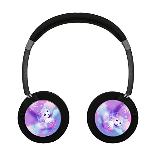 Pink Galaxy Cat Bluetooth Headphone Over-Ear Earphones Noise