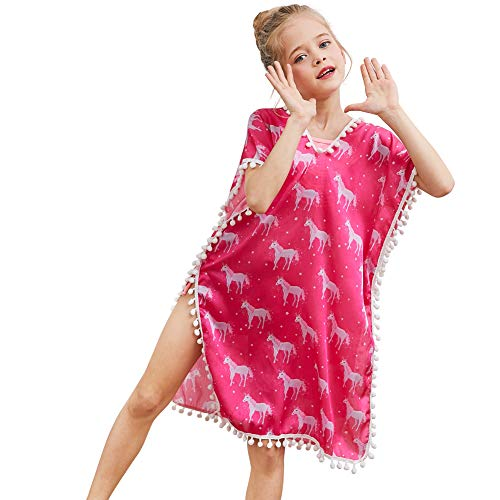 QtGirl Cover Up for Girls Swimsuit Cover Ups, Bathing Suit Beach Dress Cover-Up V-Neck with Tassel for Kids Girls Summer Rose Red