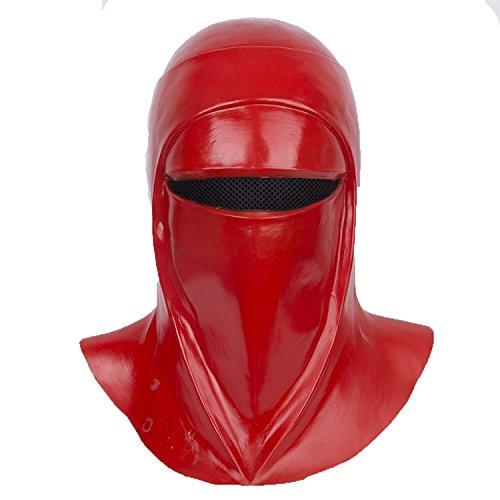 Imperial Royal Guard Cosplay Helmet Emperor's Royal Guard Soldiers Cosplay Mask Latex Full Head Red Hood Headgear Halloween Star Costume]()
