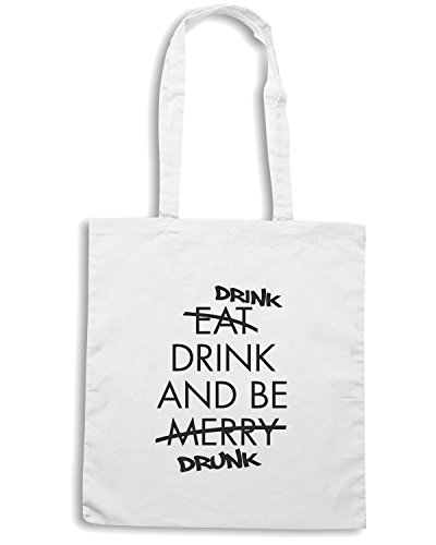 T-Shirtshock - Borsa Shopping FUN1266 drink and be drunk ash mens cu 4 1 (2) Bianco