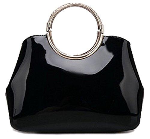 (QZUnique Women's Patent Leather Handbag Exquisite Shoulder Bag Bright Color Top Handle Tote)